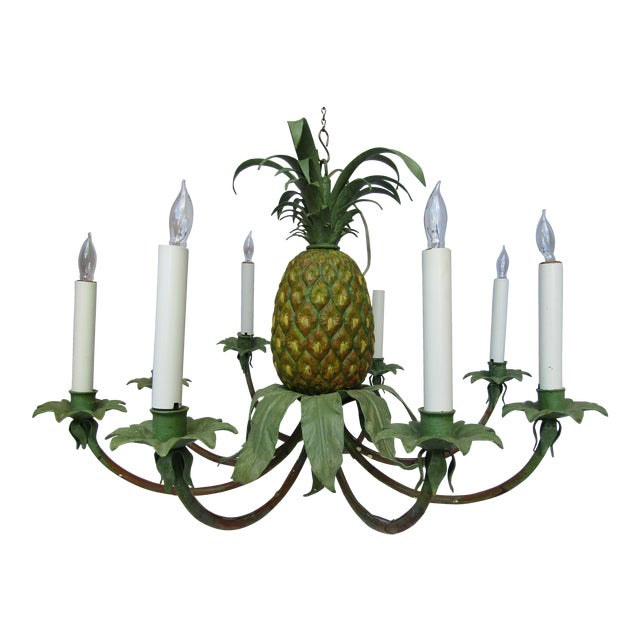 Image of Transitional Hand Painted Pineapple Chandelier