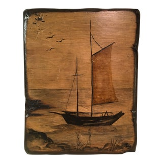 Mid-Century Modern Decoupage on Wood Sail Boat Scene