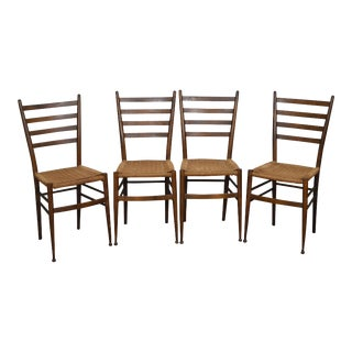 Consorzio Sedie Friuli MCM Set of 4 Italian Ladder Back Rush Seat Dining Chairs