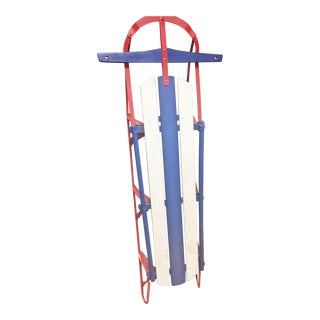 Vintage Red White & Blue Weathered Wood & Metal Runner Sled