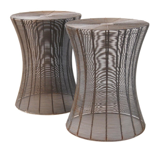 Aged Wire Outdoor Side Tables - A Pair - Image 1 of 5