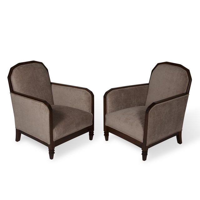 Image of 1930s Walnut Frame Armchairs - Pair