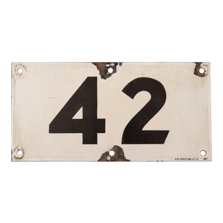 1932 Porcelain New York Subway 42nd Street Sign