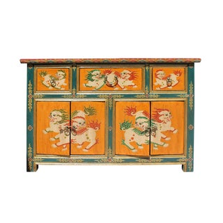 Chinese Tibetan Foo Dog Orange Sideboard Console Cabinet