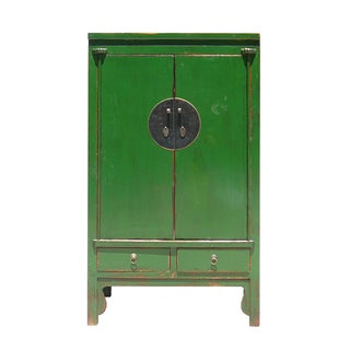 Chinese Green Elm Wood Armoire