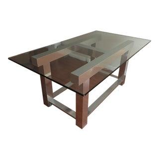 1970's Vintage Modern Metal & Glass Desk