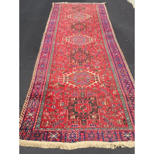"Vintage Heriz Persian Red Runner - 4'6"" x 12'3"" - Image 10 of 11"