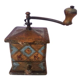 Antique Gold & Turquoise Coffee Grinder