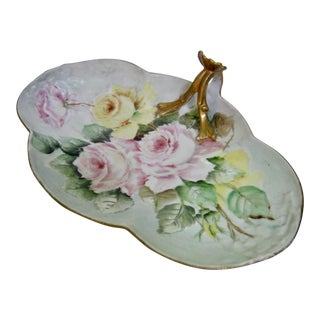 Antique Limoges France Hand Painted Rose Dessert Tray