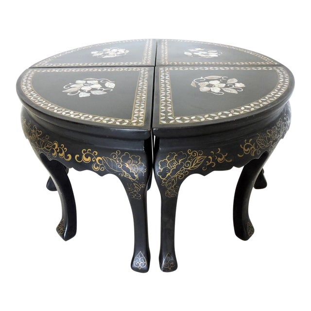 Oriental Inlaid Black Lacquer Coffee Side Table Four Stools Pair Demi Lunes Chairish