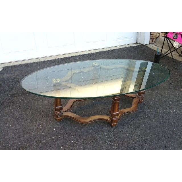 Henredon Oval Glass Top Coffee Table Chairish