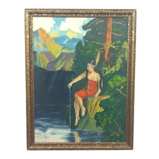Vintage Plein Air Painting of a Native American Girl