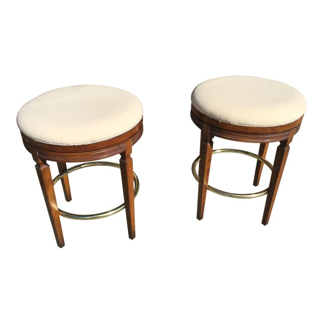 Walnut Backless Swivel Stools - A Pair - Image 1 of 5