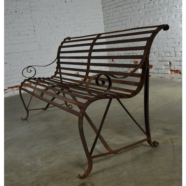 Antique 19th Century Forged Strap Iron Garden Bench - Image 6 of 10