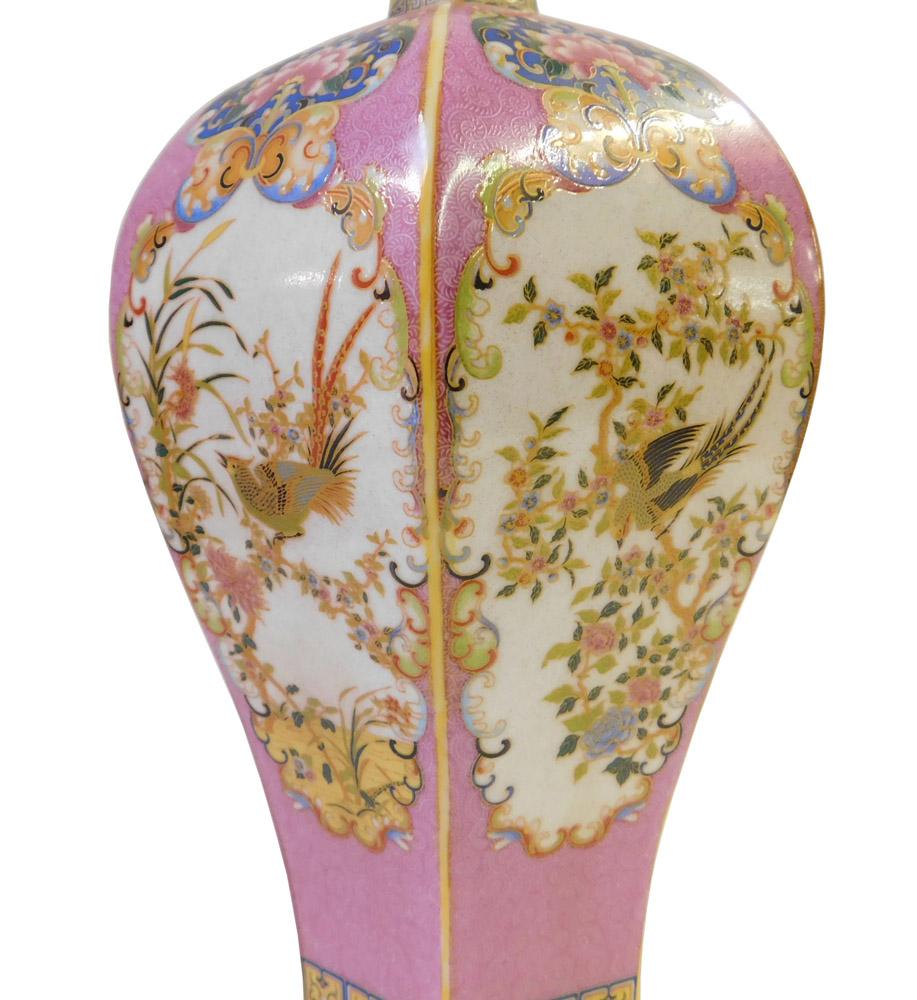 Pink Hexagonal Multi Color Porcelain Vase Chairish