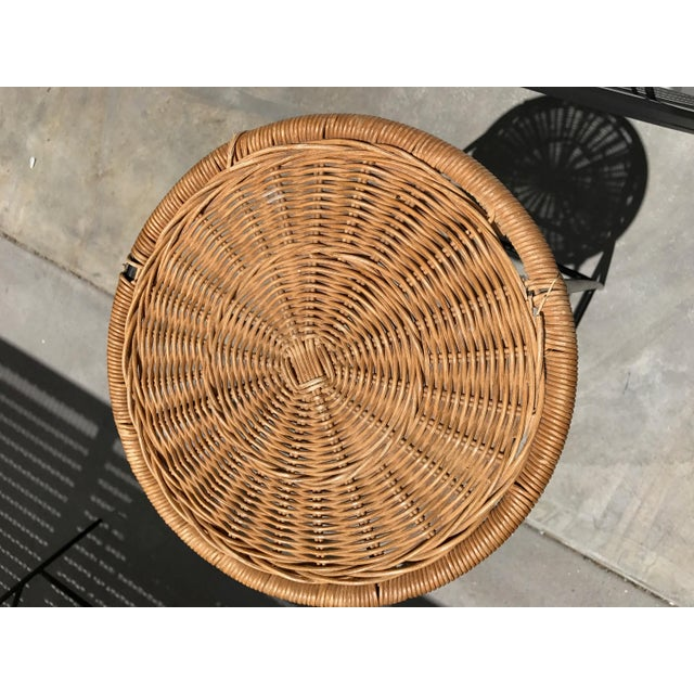 Mid-Century Wicker & Iron Stools - A Pair - Image 5 of 6