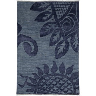 "Contemporary Hand Knotted Area Rug - 4'1"" X 6'1"""