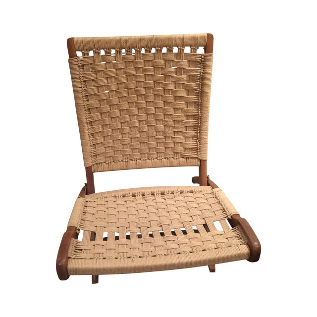 Image of Wegner Style Folding Woven Chairs - A Pair