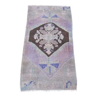 """Turkish Lavender Wool Pile Small Vintage Rug - 1'4"""" x 2'8"""""""