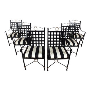 Traditional Iron Patio Chairs - Set of 8