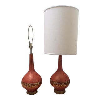 Vintage Brass & Orange Ceramic Table Lamps- A Pair