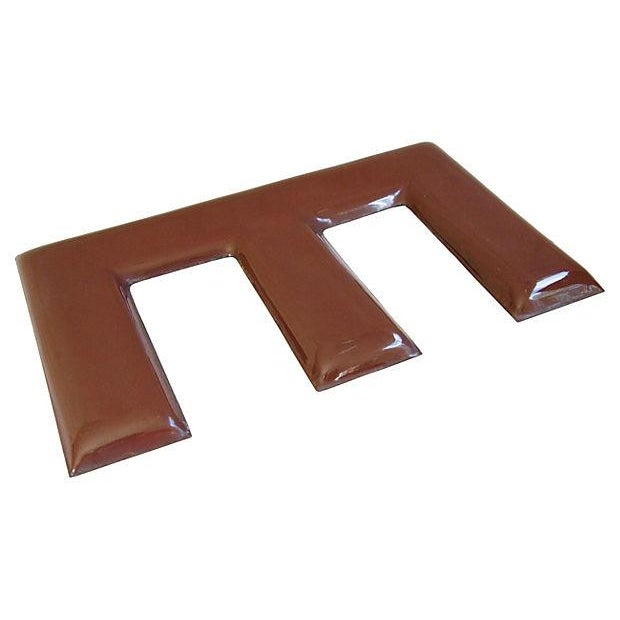 Large 1950s Chocolate Brown Porcelain Letter E - Image 3 of 5