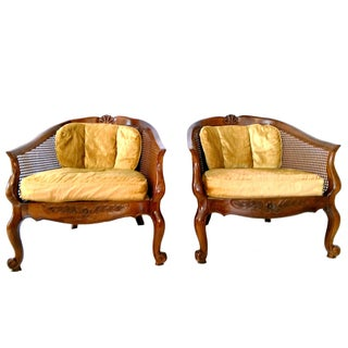 Drexel Cane Barrel Chairs - A Pair