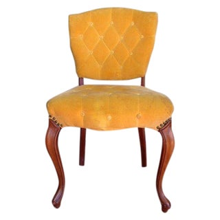 Vintage Slipper Chair in Yellow Velvet
