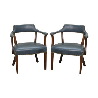 Hancock & Moore Steel Blue Leather Pair of Arm Chairs