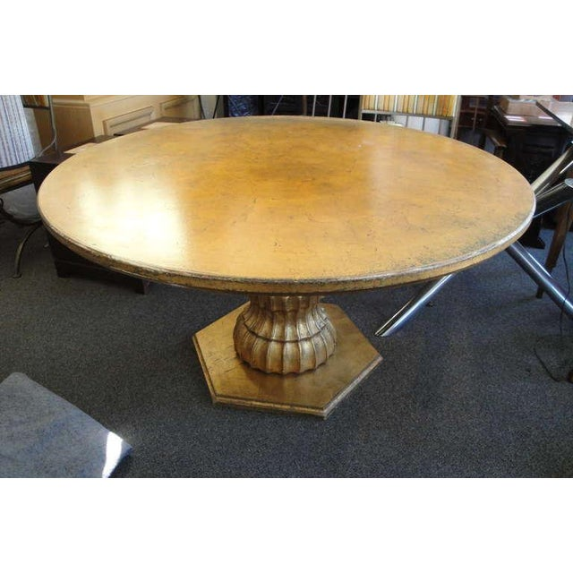 hollywood regency round dining table in gold leaf chairish. Black Bedroom Furniture Sets. Home Design Ideas