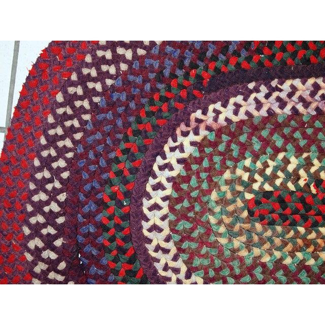 1920s Antique American Handmade Braided Rug