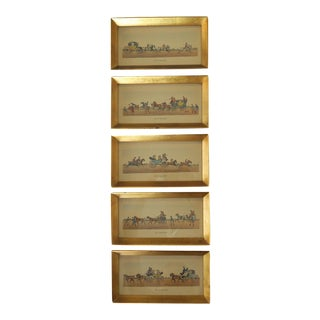 Vintage Off To The Races Horse Carriage Gold Framed Wall Art Set of 5