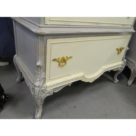 Image of French Gustavian Style Painted Highboy Dresser