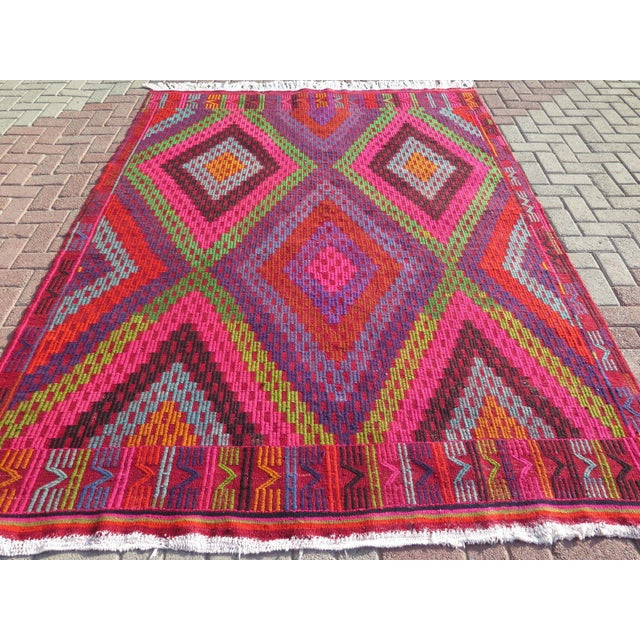 Image of Vintage Turkish Kilim Rug - 6′5″ × 8′11″