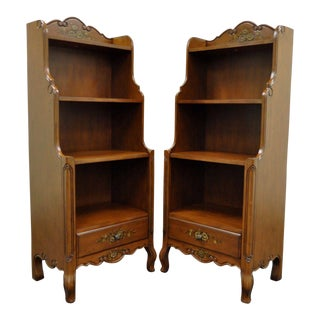 Contemporary French Country Style Carved Bookcase Stands Curio Shelves -a Pair