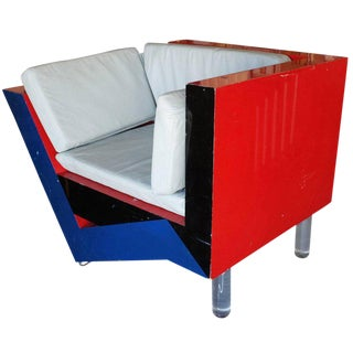 Post Modern Memphis Inspired Asymmetric Sculptural Lounge Chair
