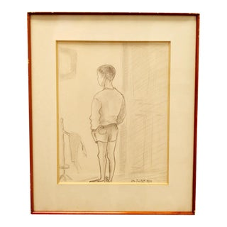 Signed Standing Boy Charcoal Drawing