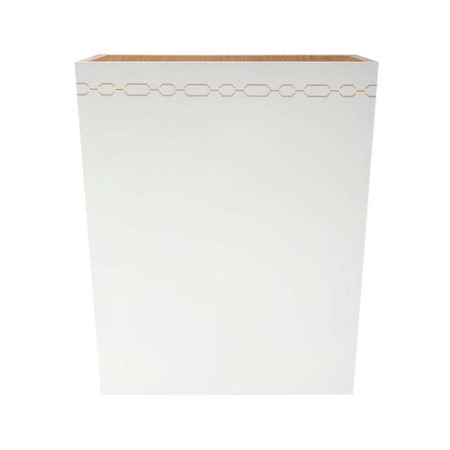 Image of Selamat Designs Hollywood Regency White Wastebasket