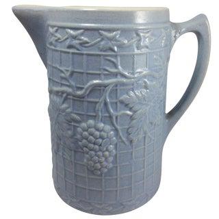 Early 1900s Uhi Pottery Stoneware Grape Pitcher