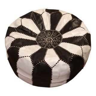 Moroccan Hand Stitched Leather Pouf Ottoman