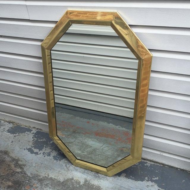 Image of Large Vintage 1970s Modernist Mastercraft Solid Brass Octagon Mirror