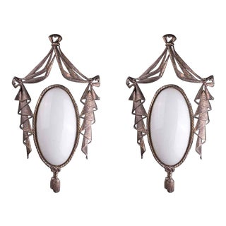 Regency Style Bronze & Glass Sconces - A Pair