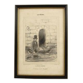 """Honoré Daumier """"Le Pêcheur Acharné"""" Lithograph"""