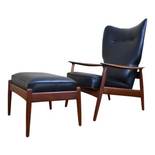 Danish Modern Teak Reclining Lounge Chair & Ottoman by K.Rasumssen for Peter Wessel