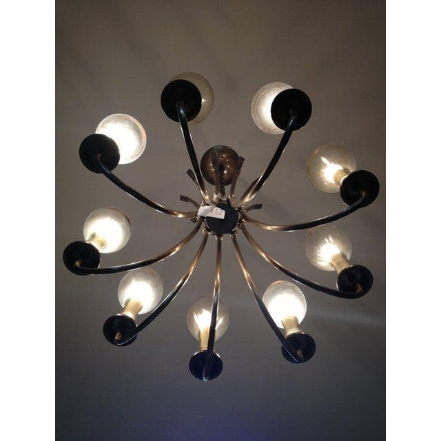 Vintage 1970s Brushed Brass Chandelier - Image 4 of 6