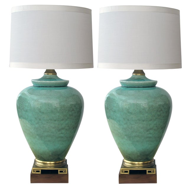 Image of An over-scaled pair of American 1960's ovoid form celadon crackle-glaze lamps by Marbro