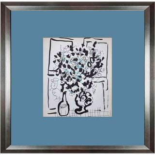 "Marc Chagall ""Black and Blue Bouquet"" Original Limited Edition Lithograph"