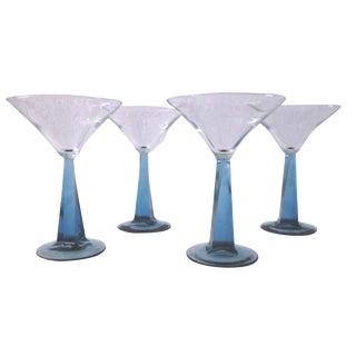 Modern Blue Stem Martini Glasses - Set of 4