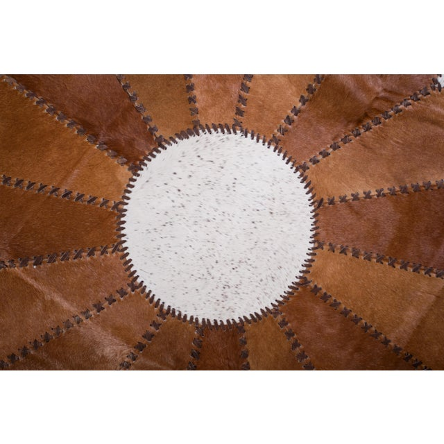 "Cowhide Patchwork Round Area Rug - 5'10""x5'10"" - Image 6 of 6"