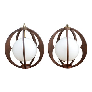 Sculptural Danish Modern Walnut & Frosted Glass Globe Pendants - a Pair